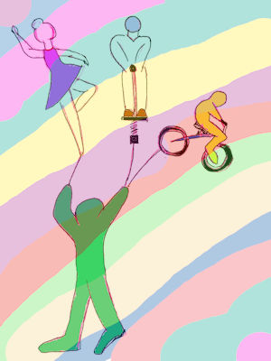 A man juggling a ballerina, a figure on a spring, and one on a bicycle