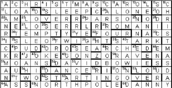 Answers to the crossword