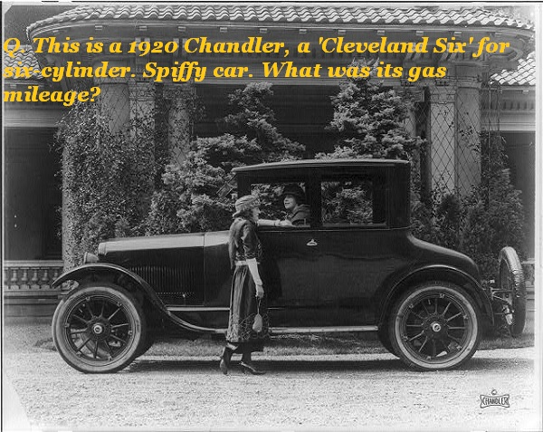 Guess the gas mileage of the Cleveland Six in 1920.