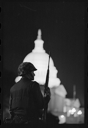 Soldier guarding Washington, DC, after the 1968 riots, courtesy of Library of Congress
