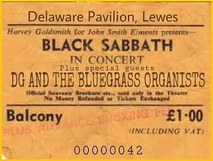 A concert ticket for Black Sabbath and DG's Bluegrass Organists.