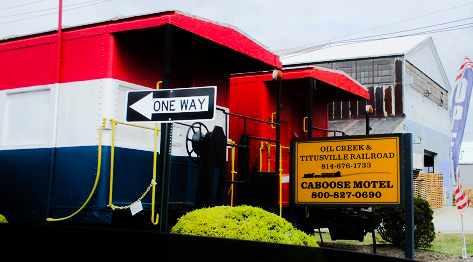 The Caboose Motel in Titusville, Pennsylvania by DG