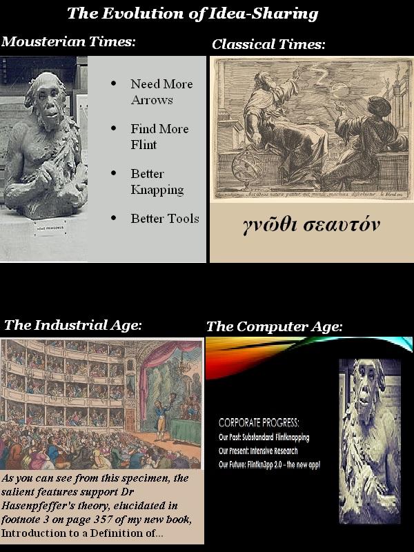 The evolution of idea sharing, from a flint-knapping Neanderthal to a flintknap app.