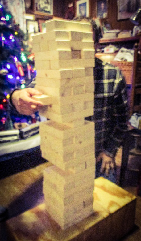 A giant Jenga game. Builder for scale.