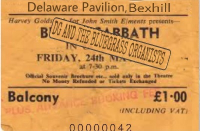 A concert ticket for Black Sabbath and DG's Bluegrass Organists.