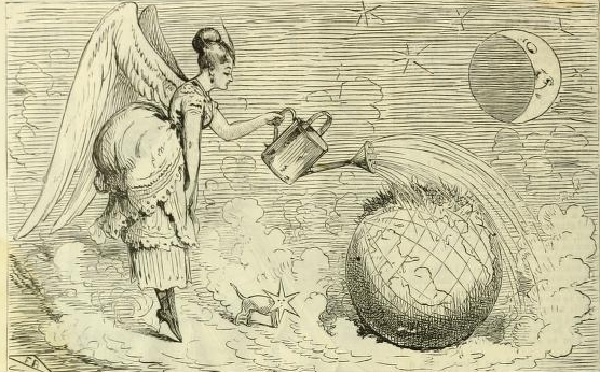 A winged 'angel' wearing a bustle watering the blazing Earth with a watering can.