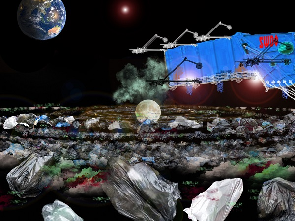 The moon surrounded by attractively lit rubbish from Earth in an aesthetic-environmental move.