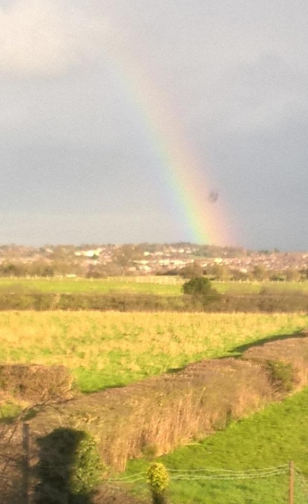 Rainbow with UFO by Freewayriding