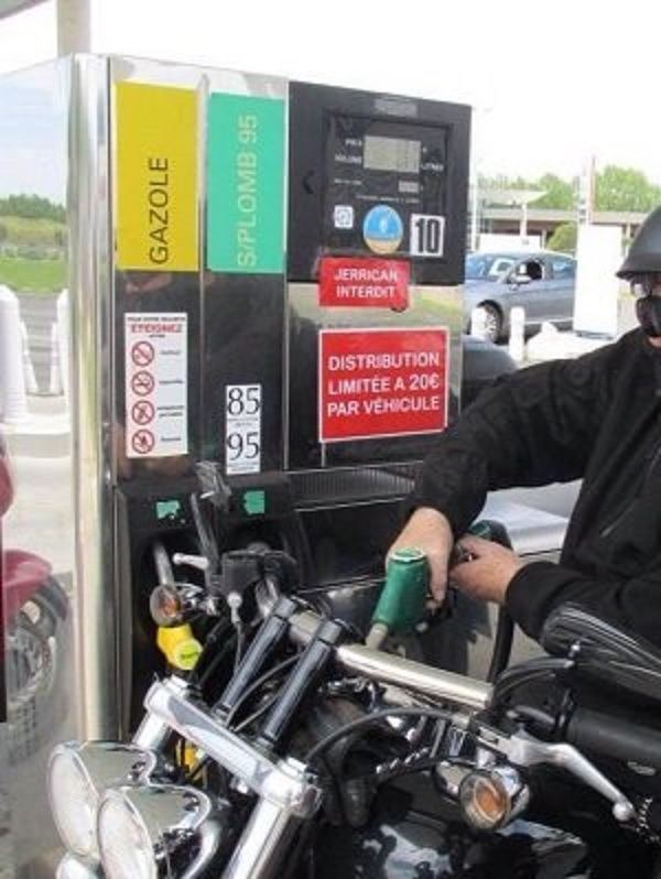 A biker trying to get petrol during a fuel shortage in 2016. FWR is having flashbacks.
