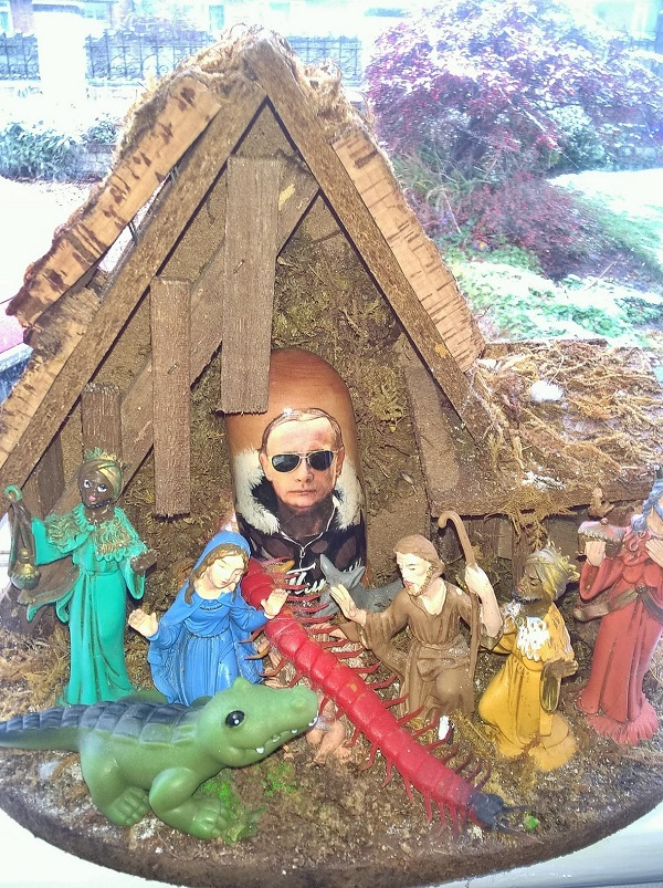A Christmas tradition at FWR's house involves putting odd things in the creche.