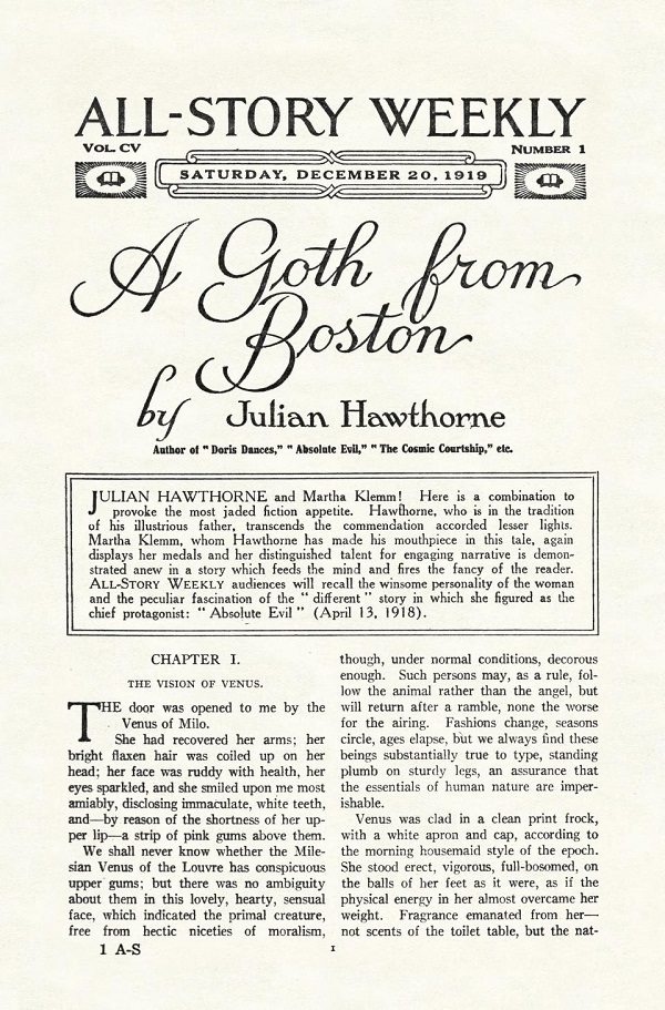 A short story called 'A Goth from Boston'