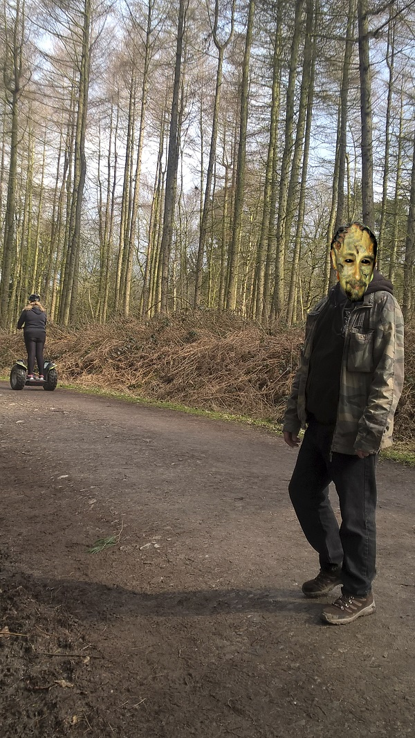 A paparazzi sighting of horror movie star Henry Letterbox lurking in the woods, with Segway.