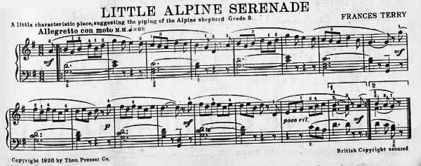 Alpine Serenade, from Etude magazine, 1920.