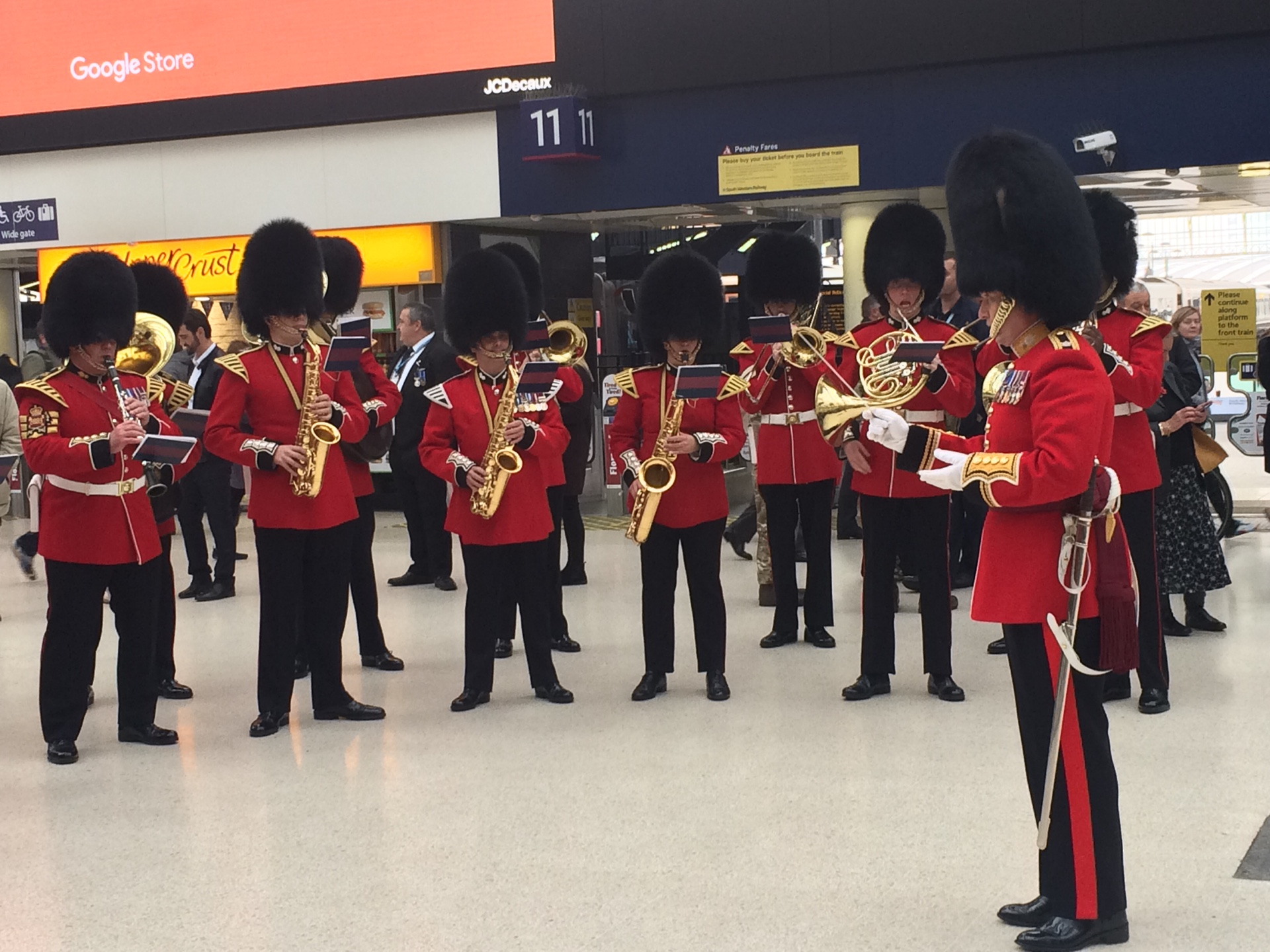 A military band at Waterloo Station.