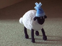 Sheep with a blue hat