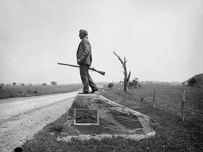 John L Burns statue in Gettysburg, Pennsylvania