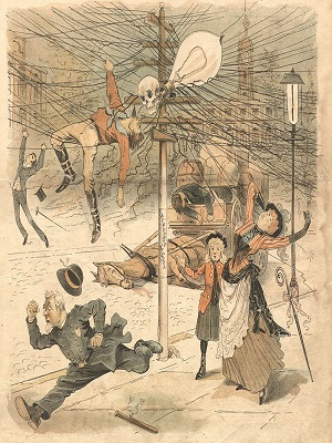 An illustration of the death of John Feeks, Western Union lineman, with people running about in panic at the idea of electrical danger in New York City.