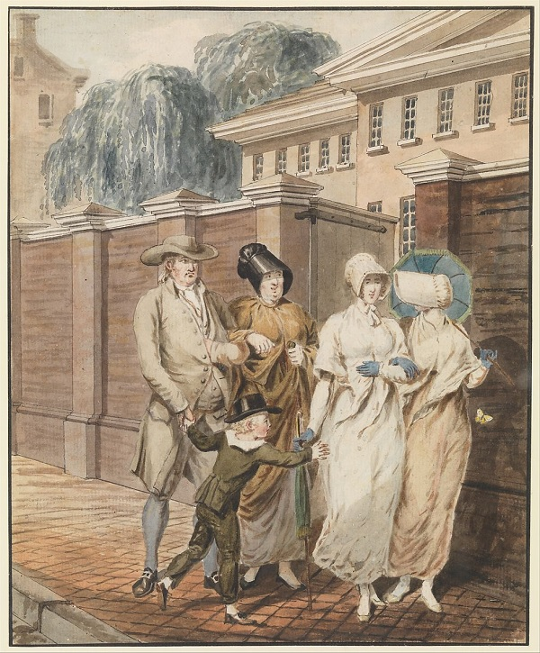 Sunday Morning in Front of Arch Street Meeting House in 1811 by Krimmel