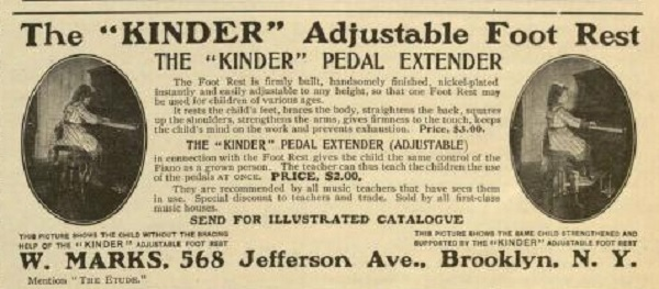 1905 advert for Kinder piano footrest for short piano players