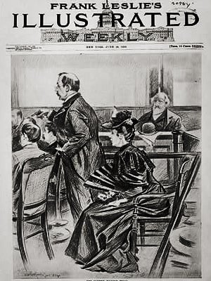Lizzie Borden on trial, from Frank Leslie's Illustrated Weekly