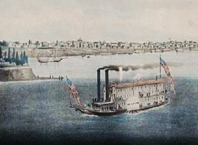 A steamboat in St Louis, 1832