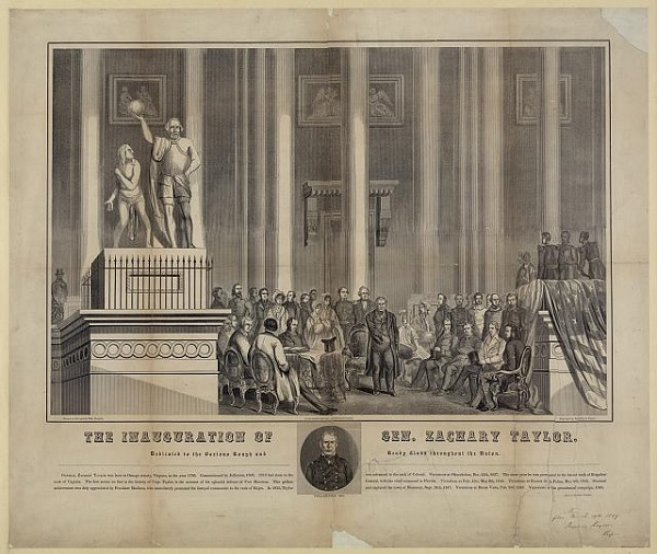 An engraving of the inauguration of Zachary Taylor, 12th President of the United States. Although he tried hard not to be.