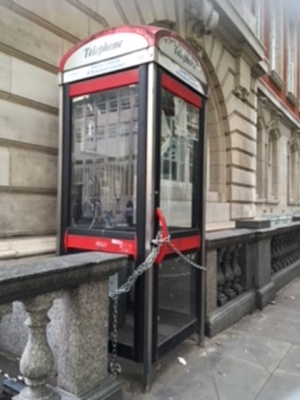 A chained phone booth