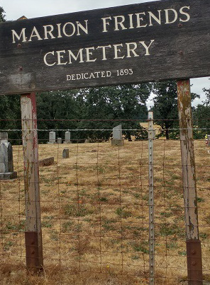 Marion Friends Cemetery sign.