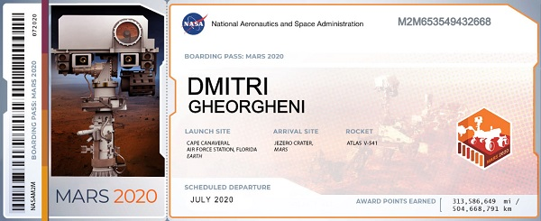 NASA Mars Boarding Pass.