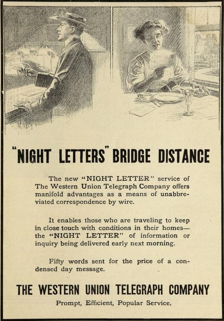 In 1910, a 50-word 'night letter' could be sent cheaply.