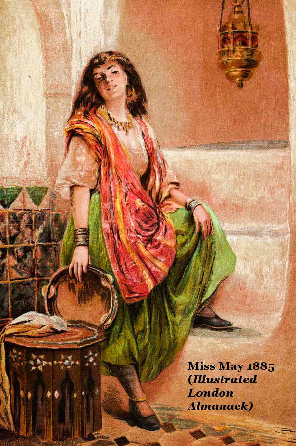 A tambourine player displaying her ankles in an 1885 almanac.