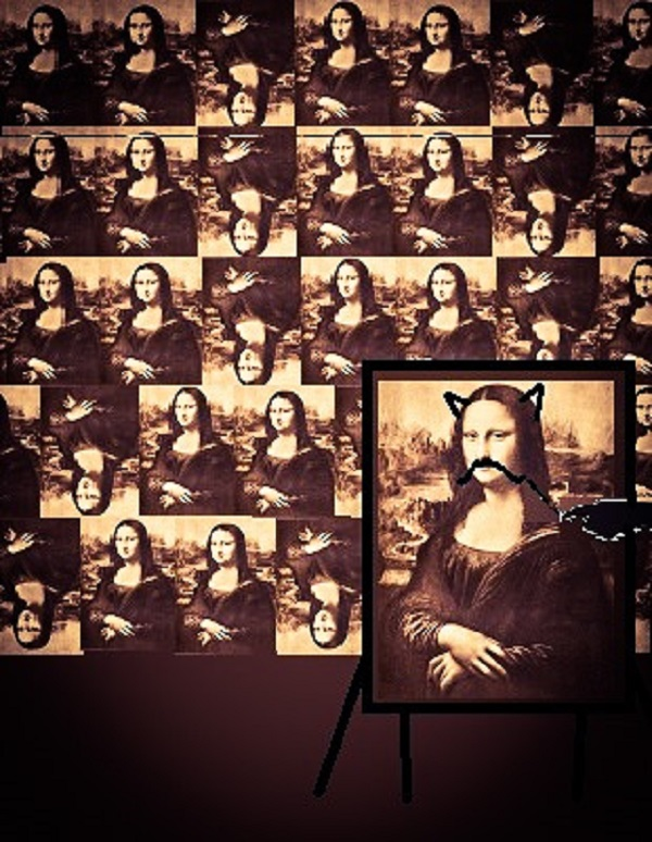 Mona Lisa moustache.