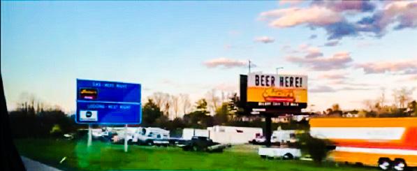 Beer Here roadside sign by Mrs Hoggett.