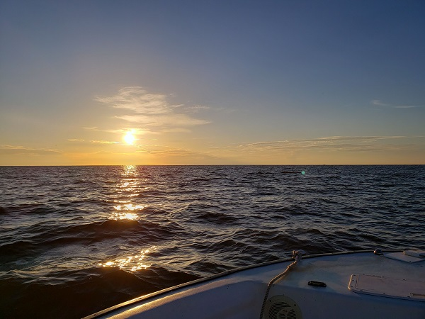 Sunset and the Atlantic Ocean at Brunswick, Georgia,  USA. By Mrs McGillicuddy.
