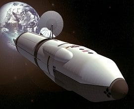 Artist's conception of a rocket blasting off for Mars by NASA.