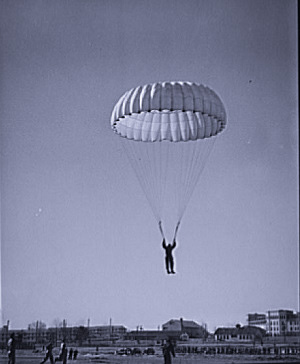 A paratrooper practising during the Second World War