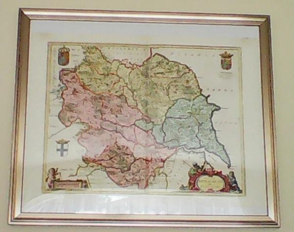 A framed map of Yorkshire