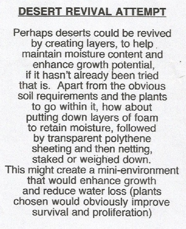 A suggestion about desert revival