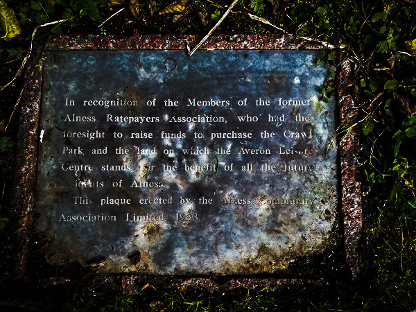 Plaque praising the foresight of the park's planners.