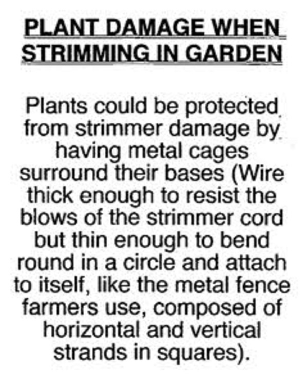 A suggestion about strimmers in gardens.