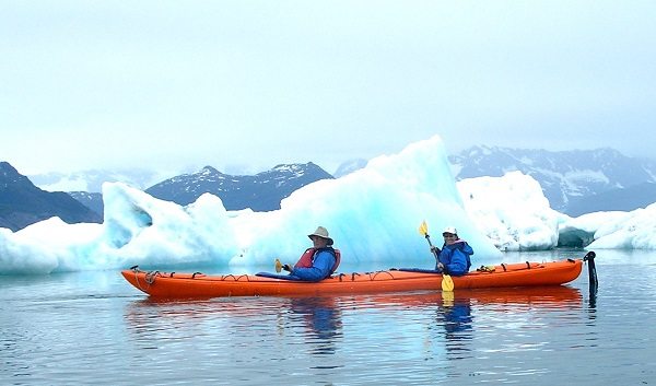 Kayaking in Icebergs by Phred Firecloud