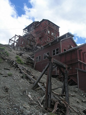 Mining buildings on a hillside