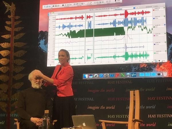 Hannah Crichlow wiring Rowan Williams up for scientific meditation