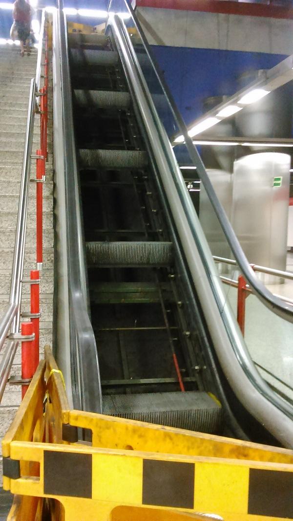 Sick escalator in Madrid