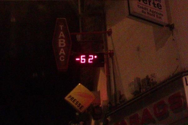A French thermometer in July.