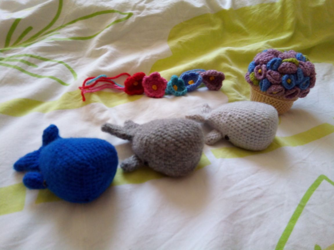 Crocheted Sperm Whales and Petunias by Superfrenchie.