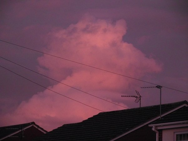 A pink cloud over some houses