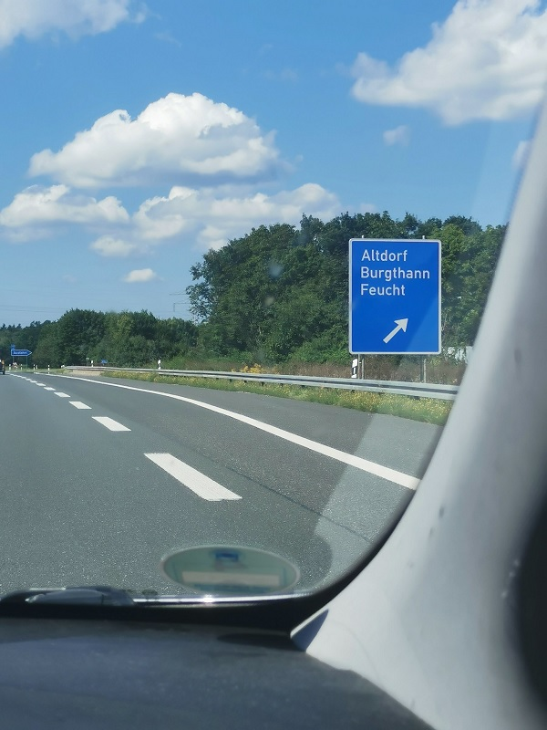The exit sign Sho spotted leads to the German town of Feucht, which means 'moist'.
