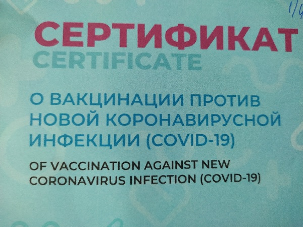 Solnushka's vaccination certificate, in Russian and English