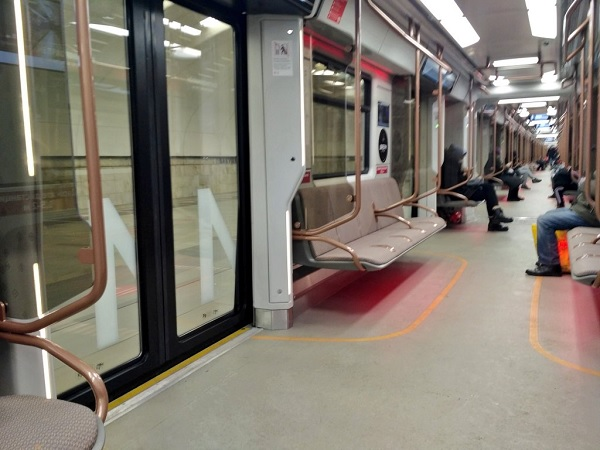 The new Moscow Metro trains are modern and clean, by Solnushka.